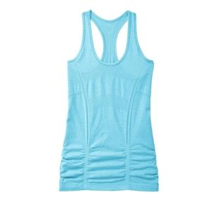 Athleta Fast Track Ruched Tank in Blue